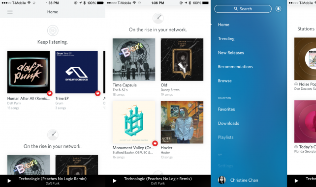 Rdio's Home view
