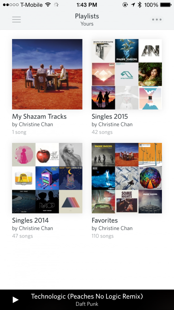 Playlists in Rdio