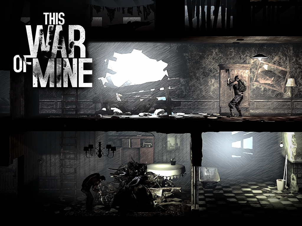 A gritty charcoal aesthetic dominates This War of Mine.