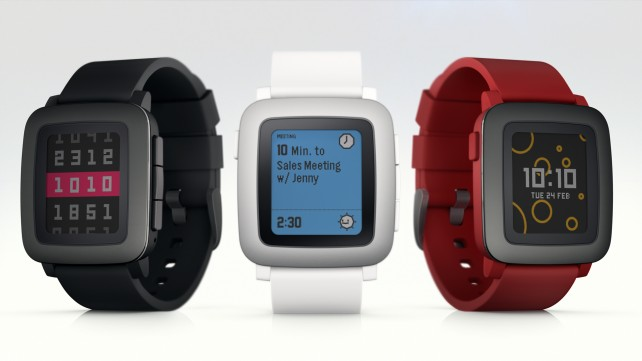 The iPhone-compatible Pebble Time is now available at Best Buy