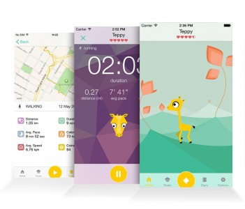 Walk your giraffe with Tep the Motivational Activity Tracker