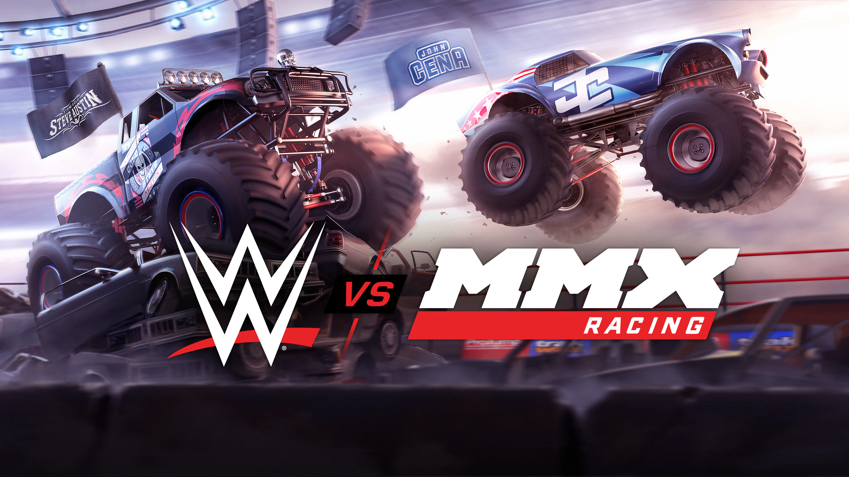 Crush cars with wrestling stars in MMX Racing Featuring WWE