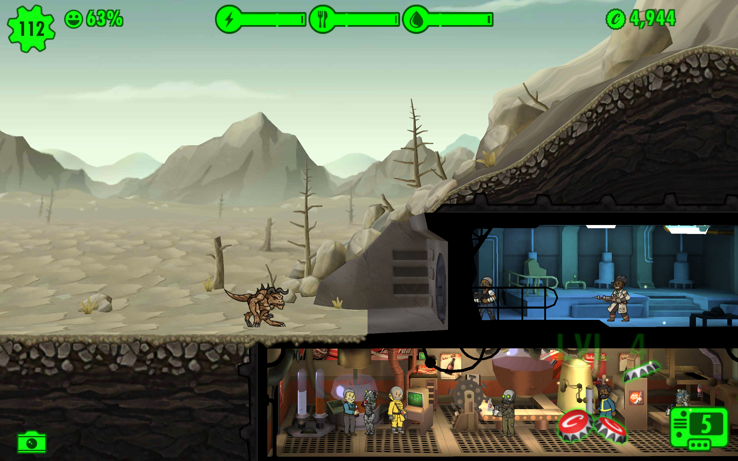 Battle Mole Rats and Deathclaws in the updated Fallout Shelter