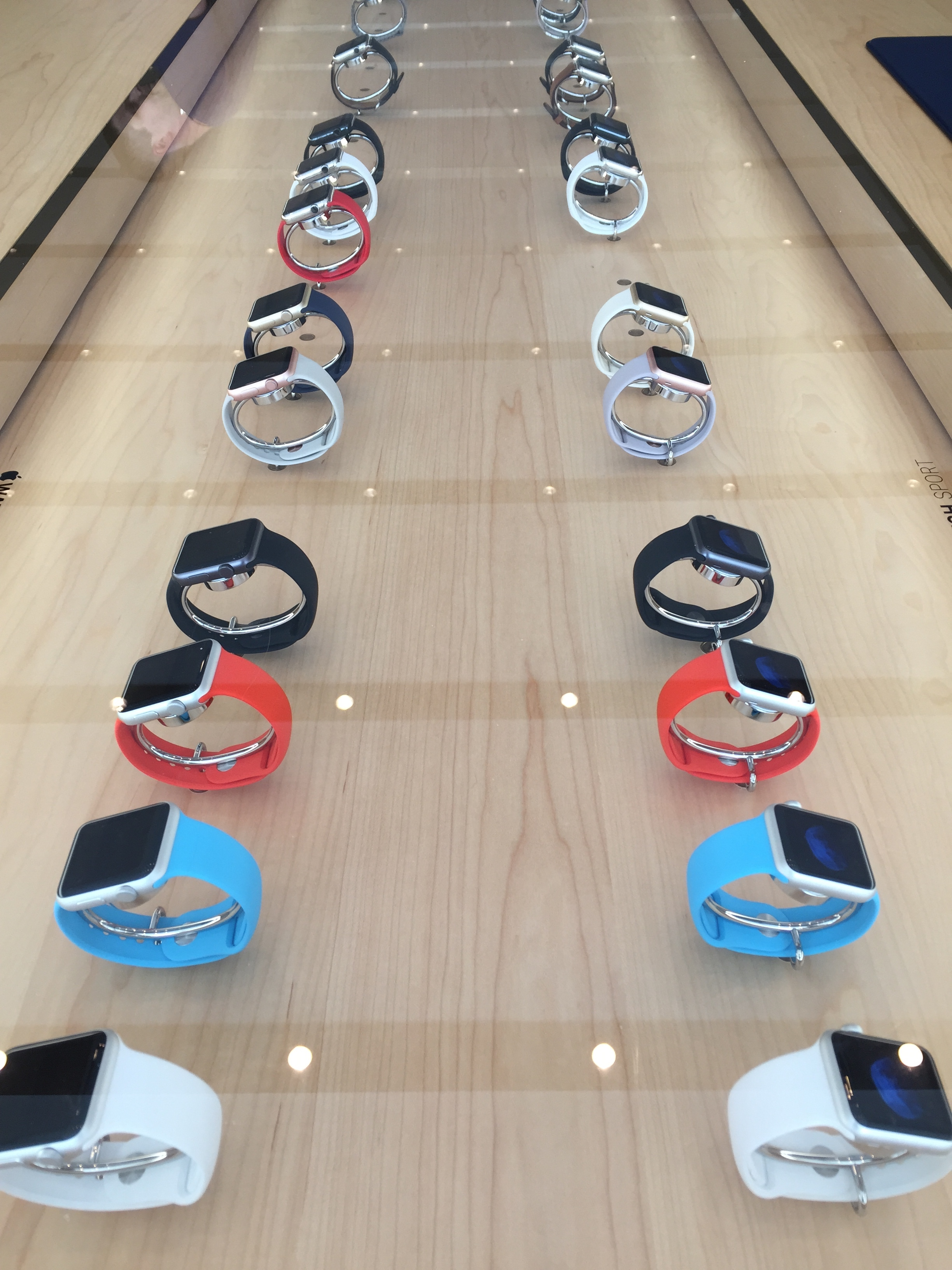 All of the new Apple Watch models on display, except for Hermès