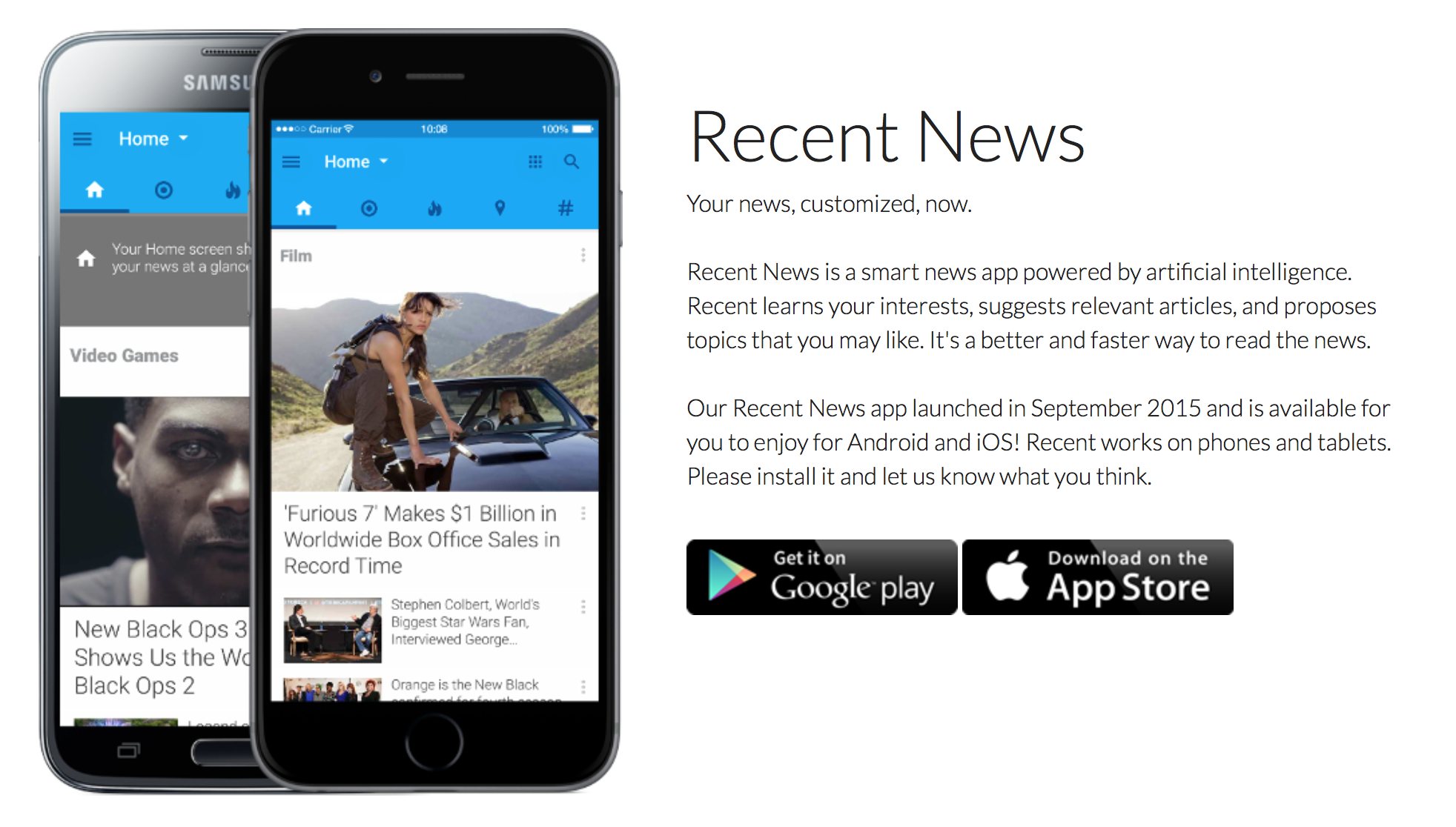 Recent News: a smart, fast news-reader for your iOS device