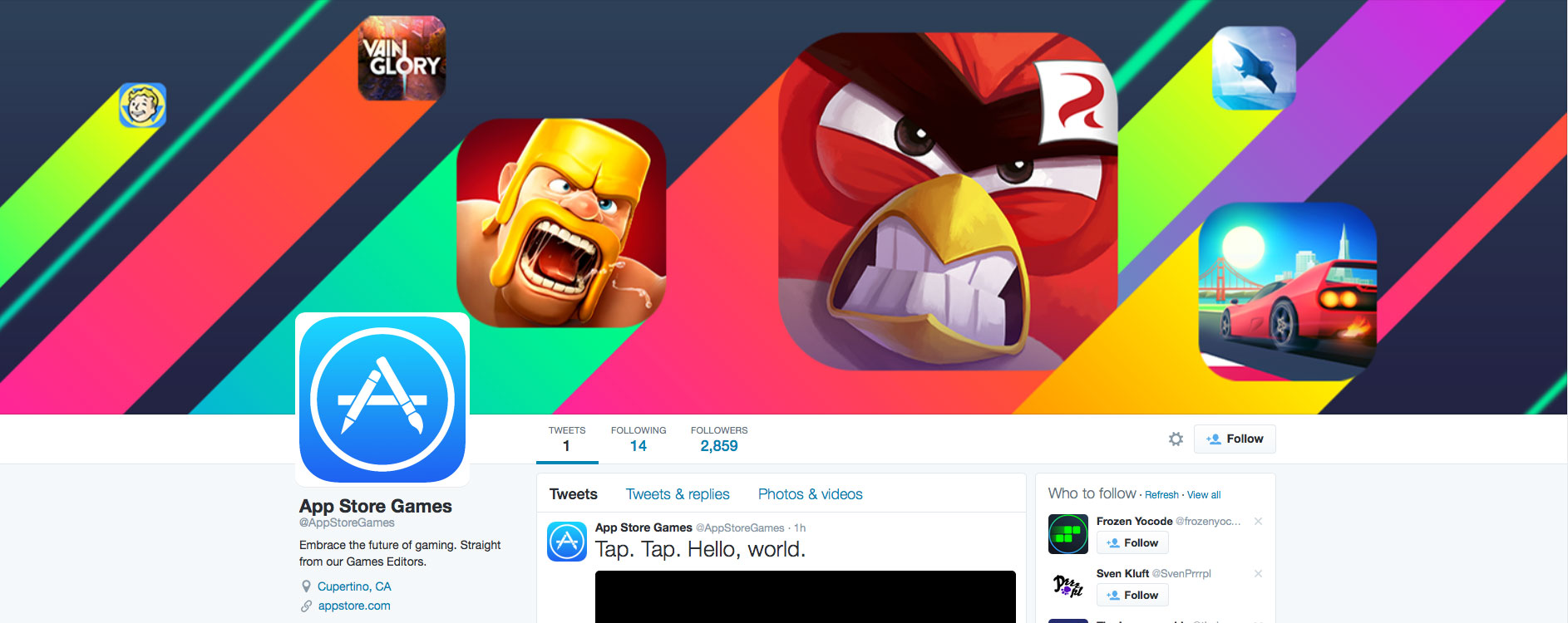 Apple launches a curated Twitter account for the App Store gaming section