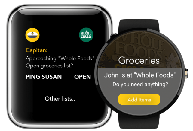 Captain's app on the Apple Watch.
