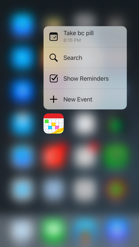 Fantastical 2's 3D Touch shortcuts.