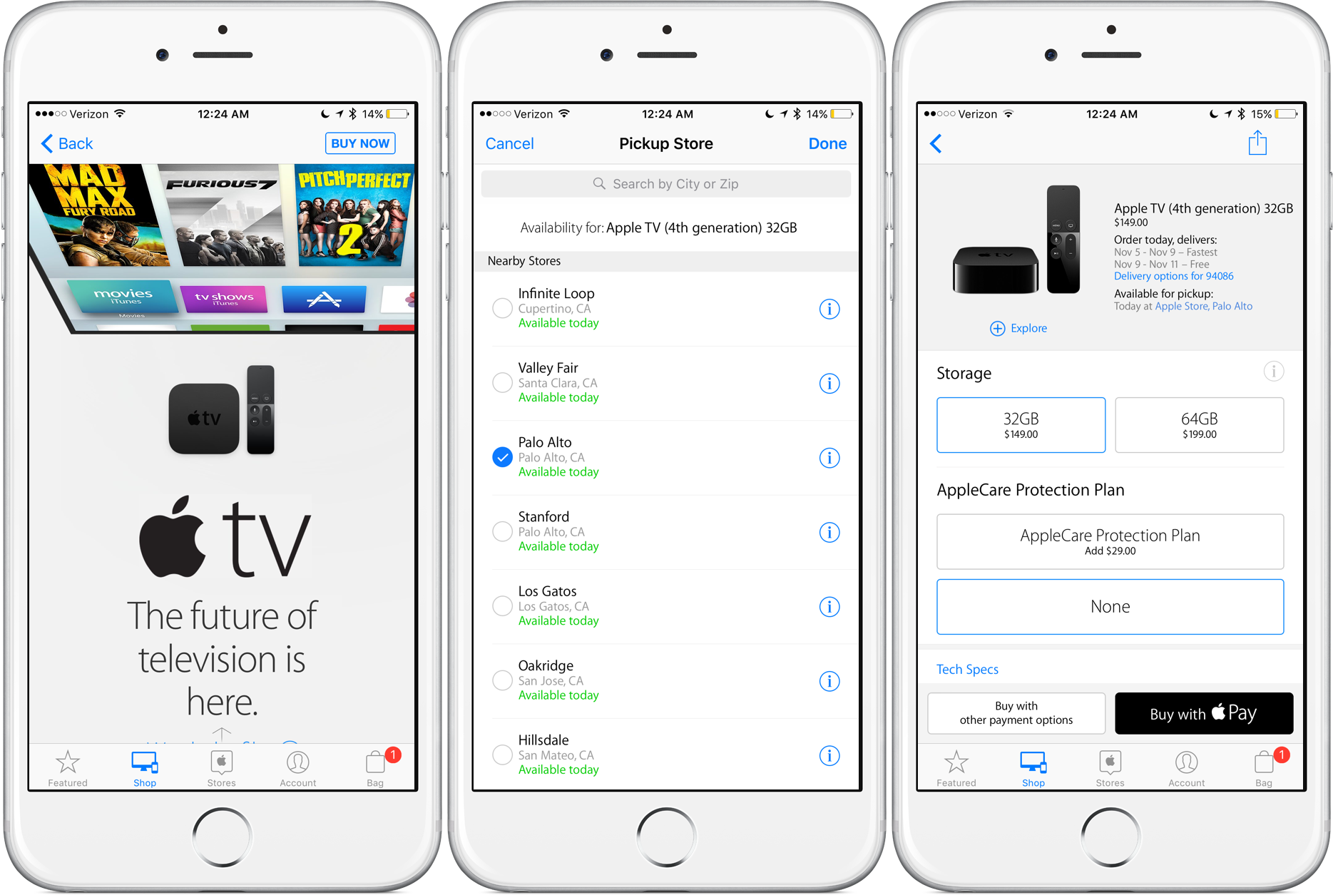 You can order an Apple TV online and pick it up in-store.
