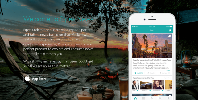Pipes for iOS is a smart, automated, to-the-point news app