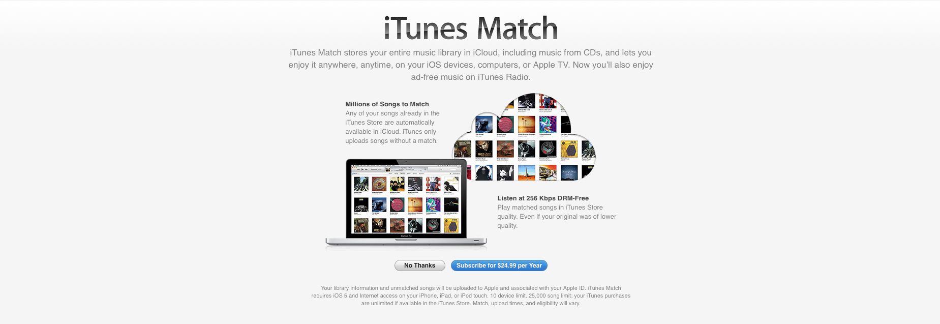 Apple is looking to increase the music library matching limit to 100,000 tracks