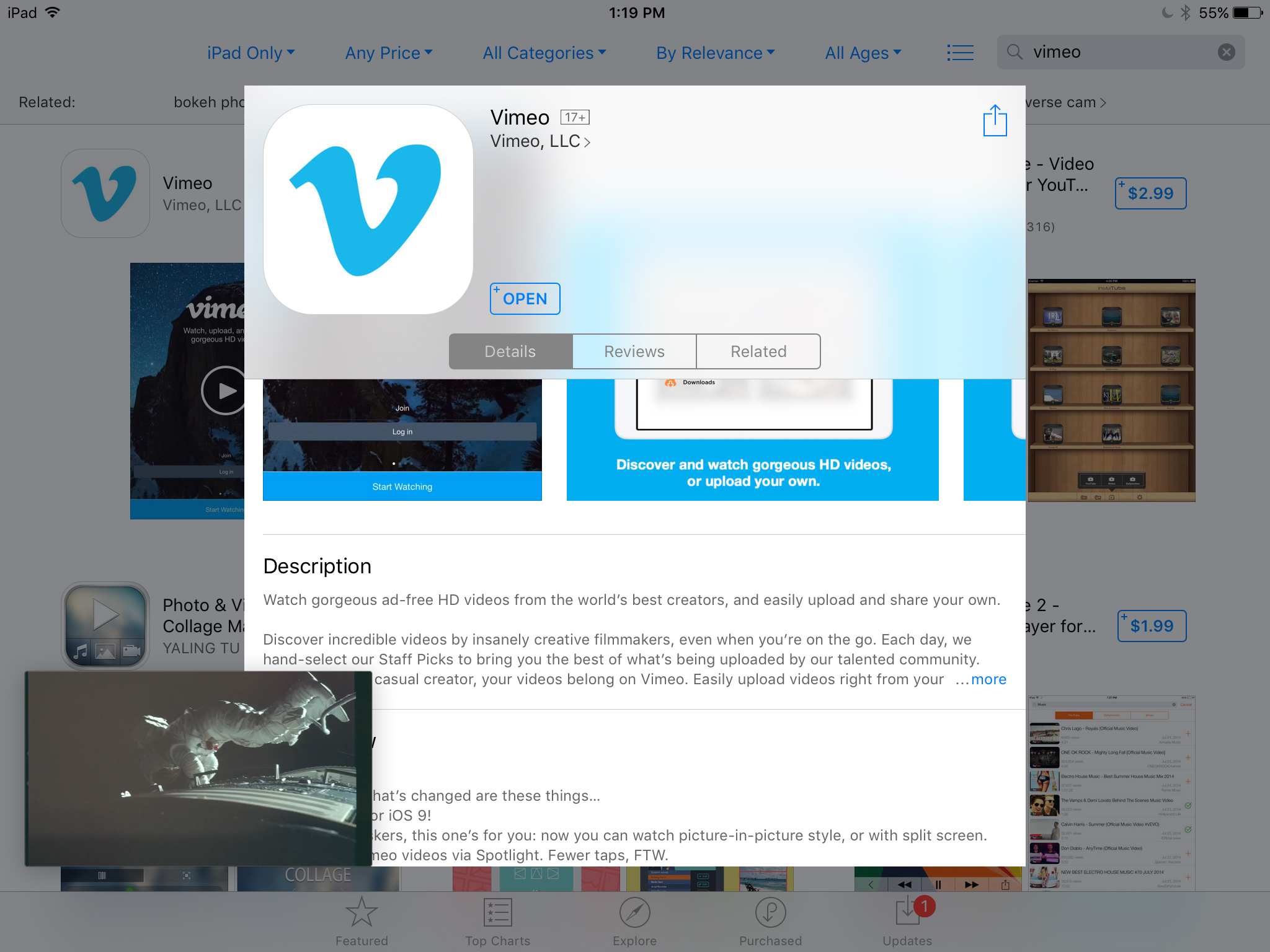 Vimeo update arrives with iOS 9 iPad multitasking support