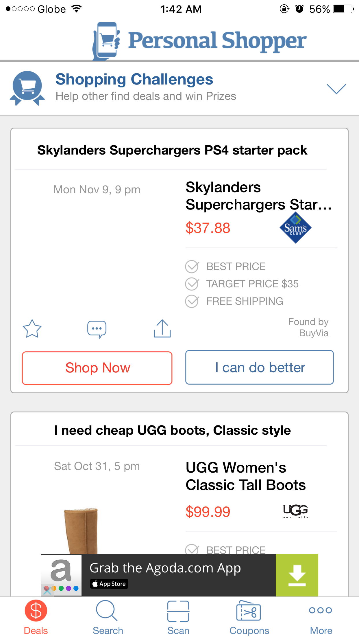 Personal Shopper also lets you help other shoppers find the best deals for their preferred products.