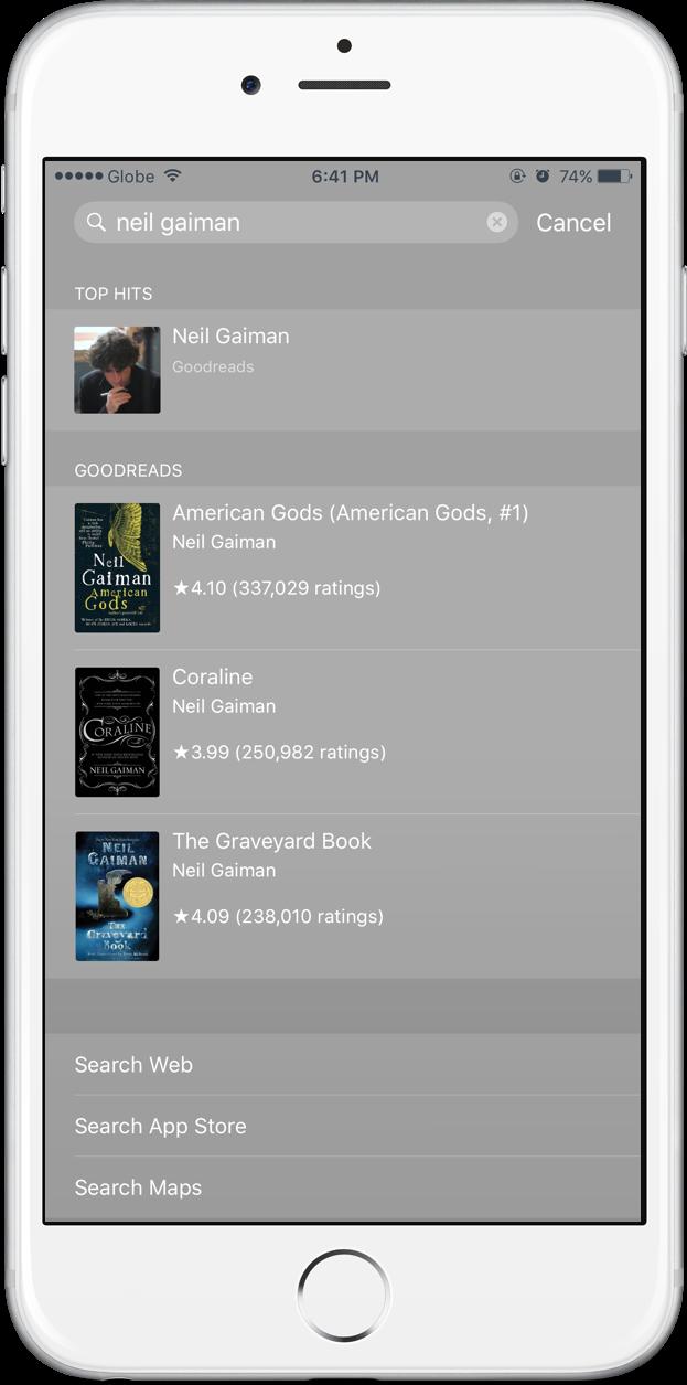 Goodreads Spotlight search