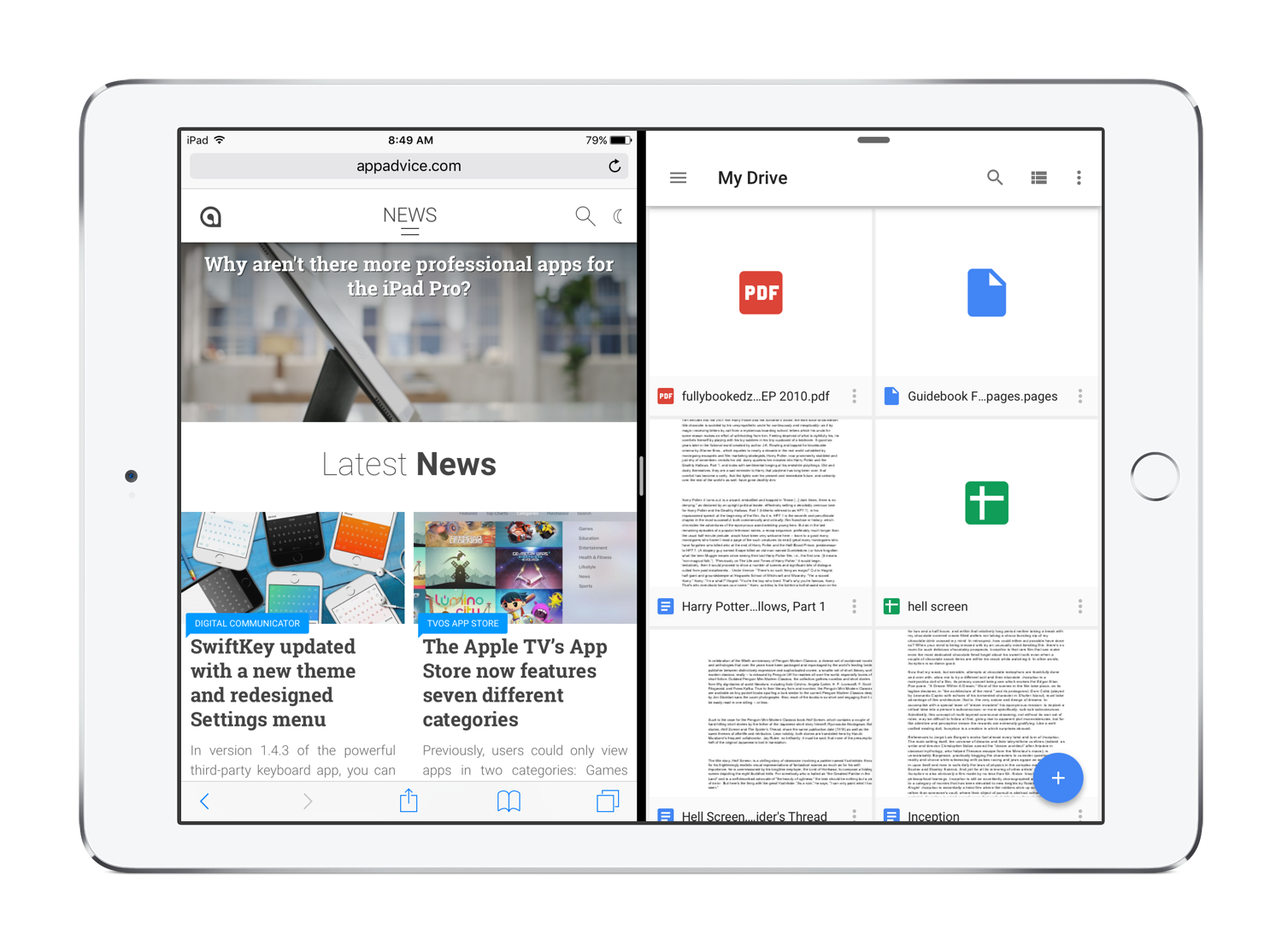 Google Drive iPad Split View