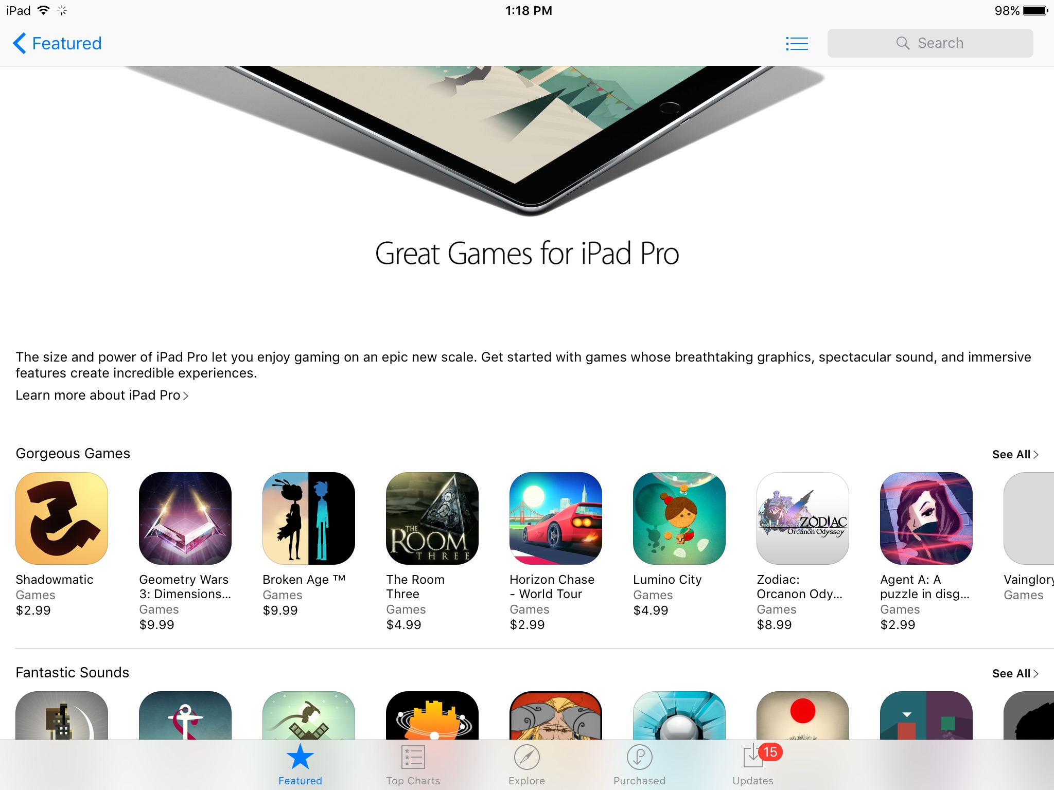 Great Games for iPad Pro