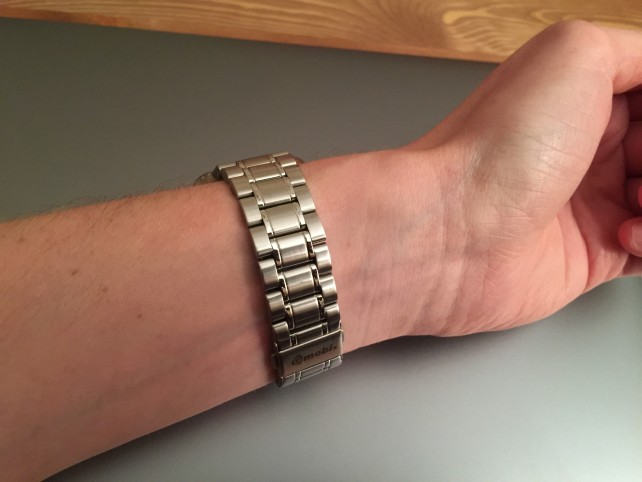 A simple clasp allows owners to easily remove HyperLink from their wrist.