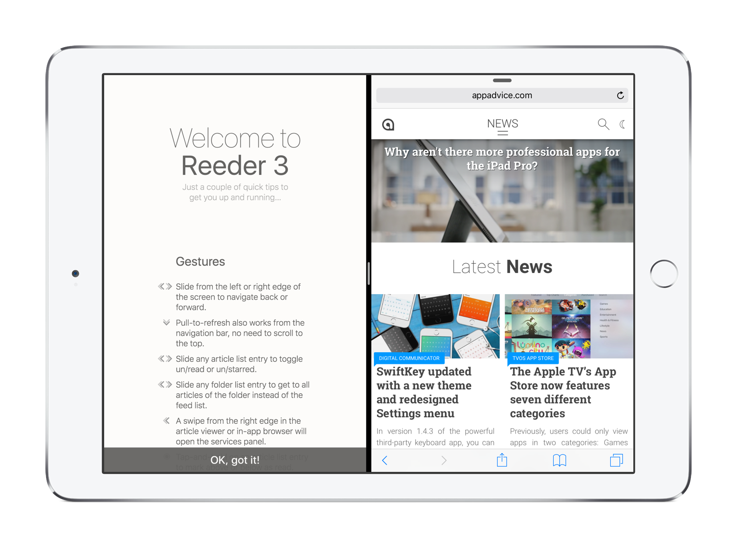 Reeder 3 iPad Split View