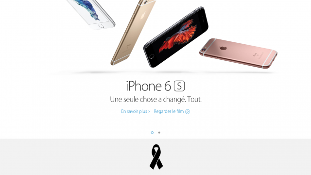 Apple pays its respects to Paris with a black ribbon on its home page