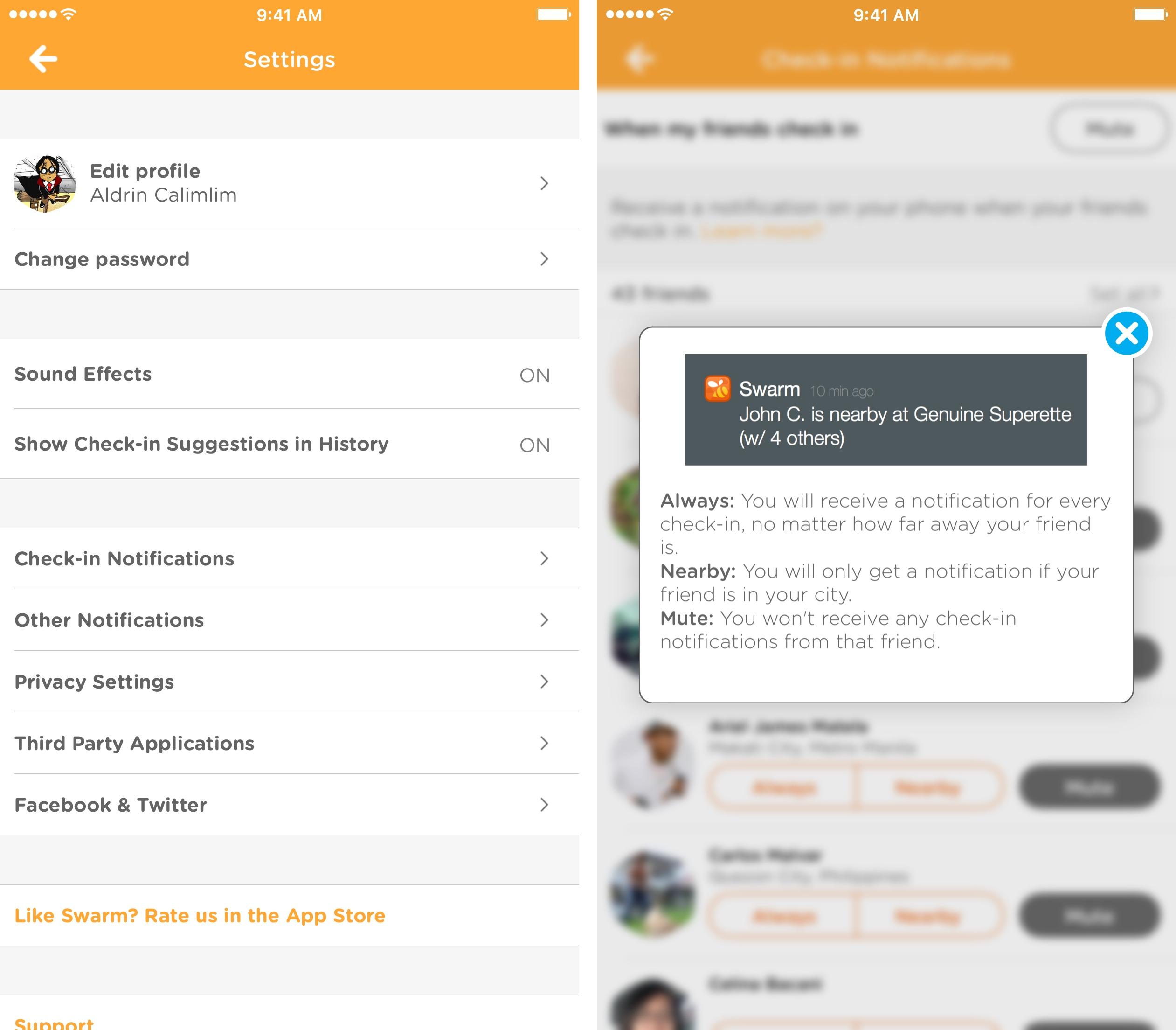Swarm notifications