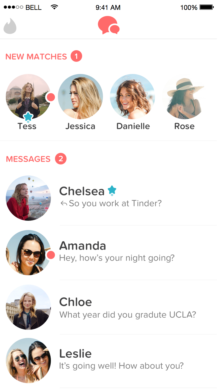 Tinder's revamped messaging system.
