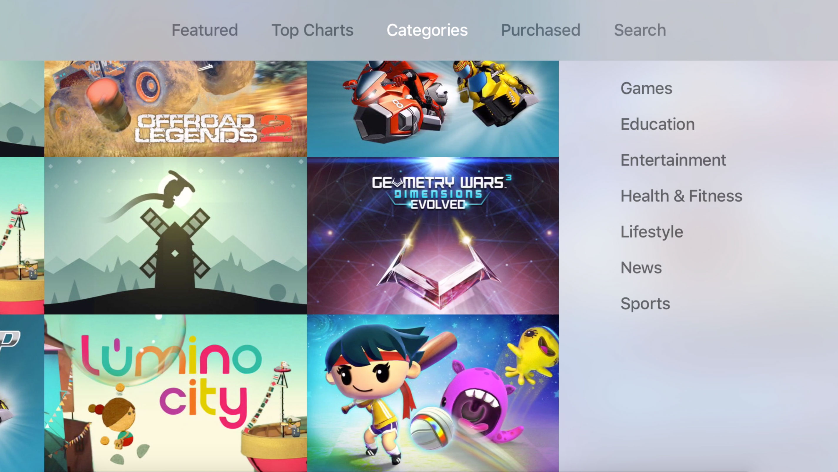 The Apple TV's App Store now features seven different categories