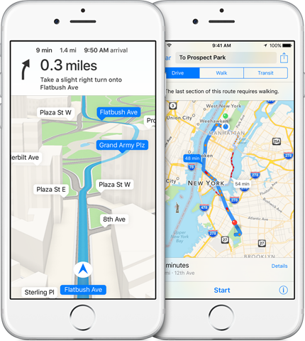 Apple Maps navigation