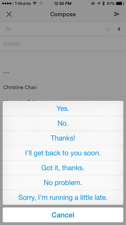 Boxer gives users several different canned messages so replying is faster and easier than ever.