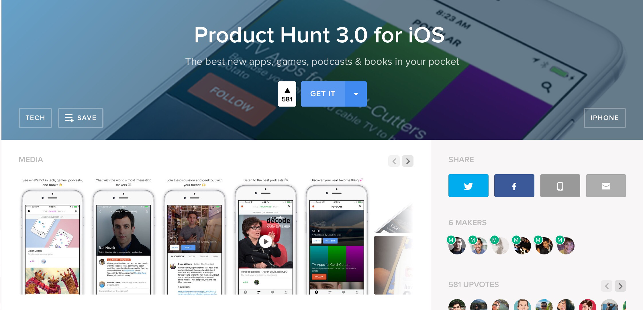 Product Hunt's iOS app gets a mammoth update