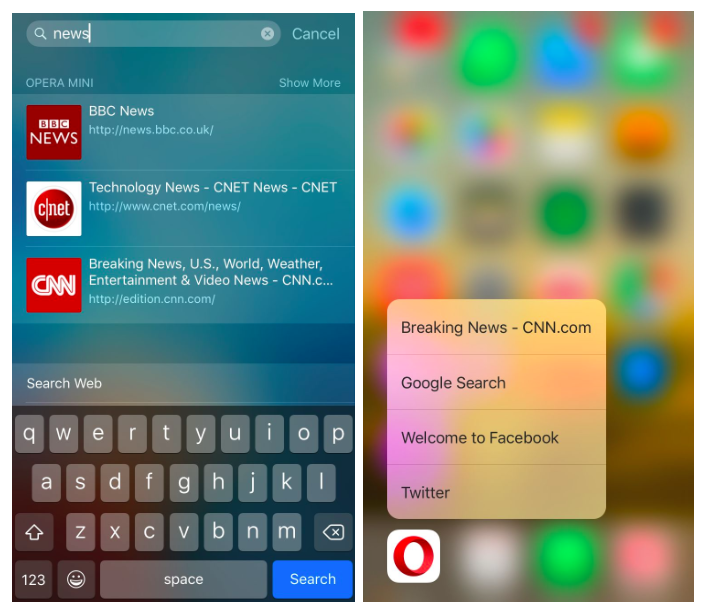 Opera Mini Spotlight 3D Touch