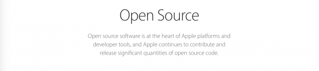 Apple's new message at its Open Source page.
