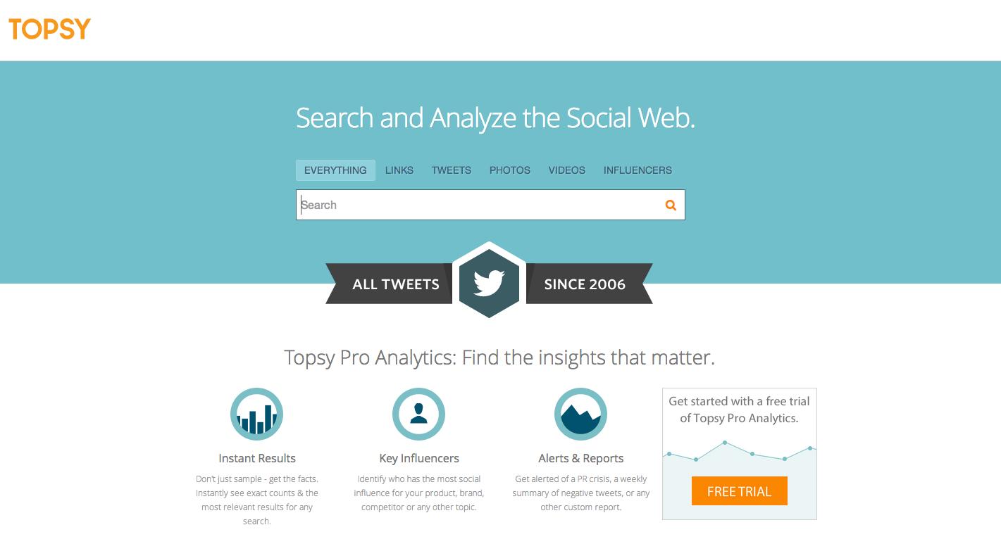 Topsy webpage