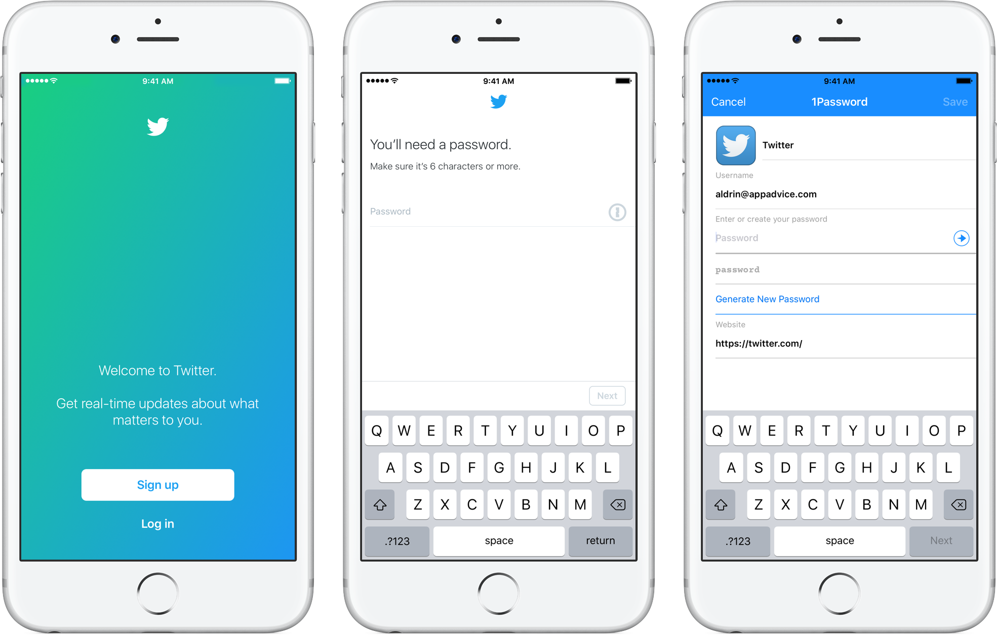 Twitter 1Password sign-up