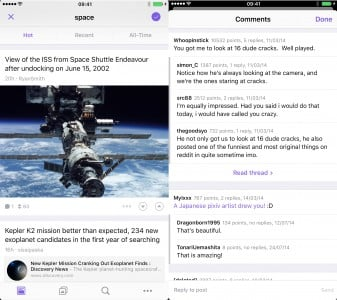The updated Beam for Reddit is a great way to browse the social network