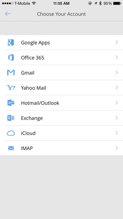 Cloudmagic has plenty of options for compatible email services.