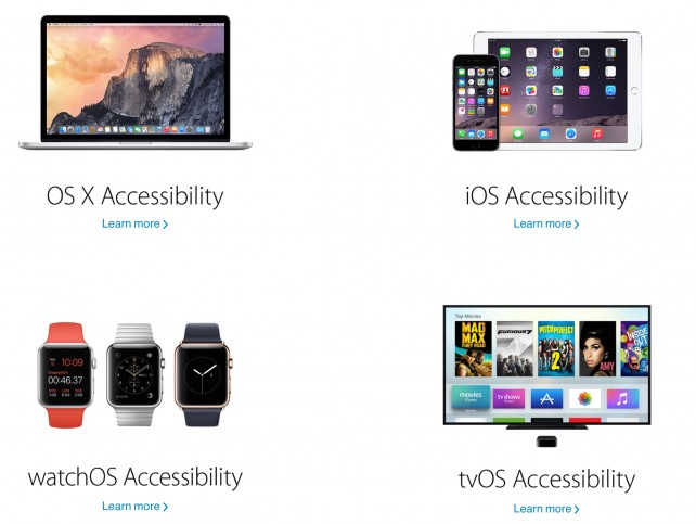 All four of Apple's operating systems offer accessibility functionality.