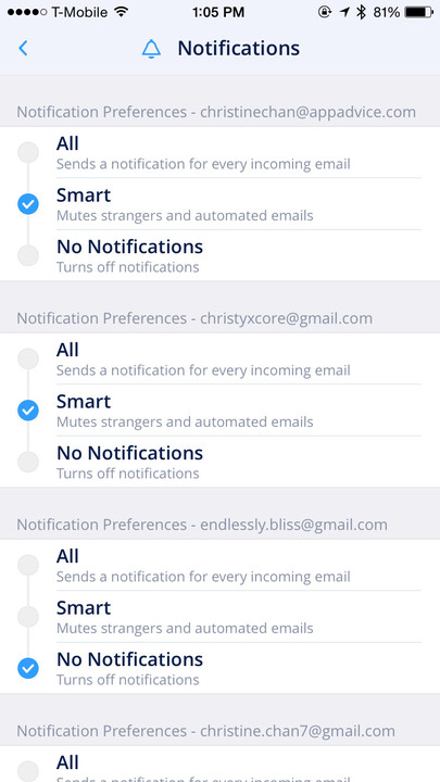 Fine tune those notification settings for each individual email account in Spark.