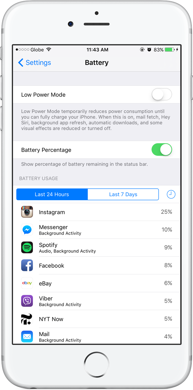 Battery settings battery percentage