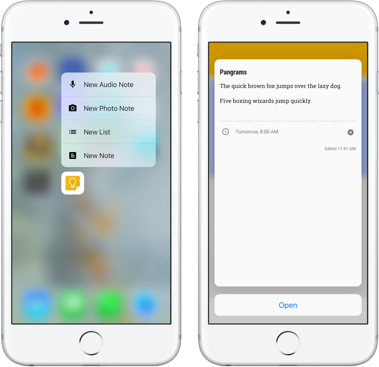 Google Keep 3D Touch