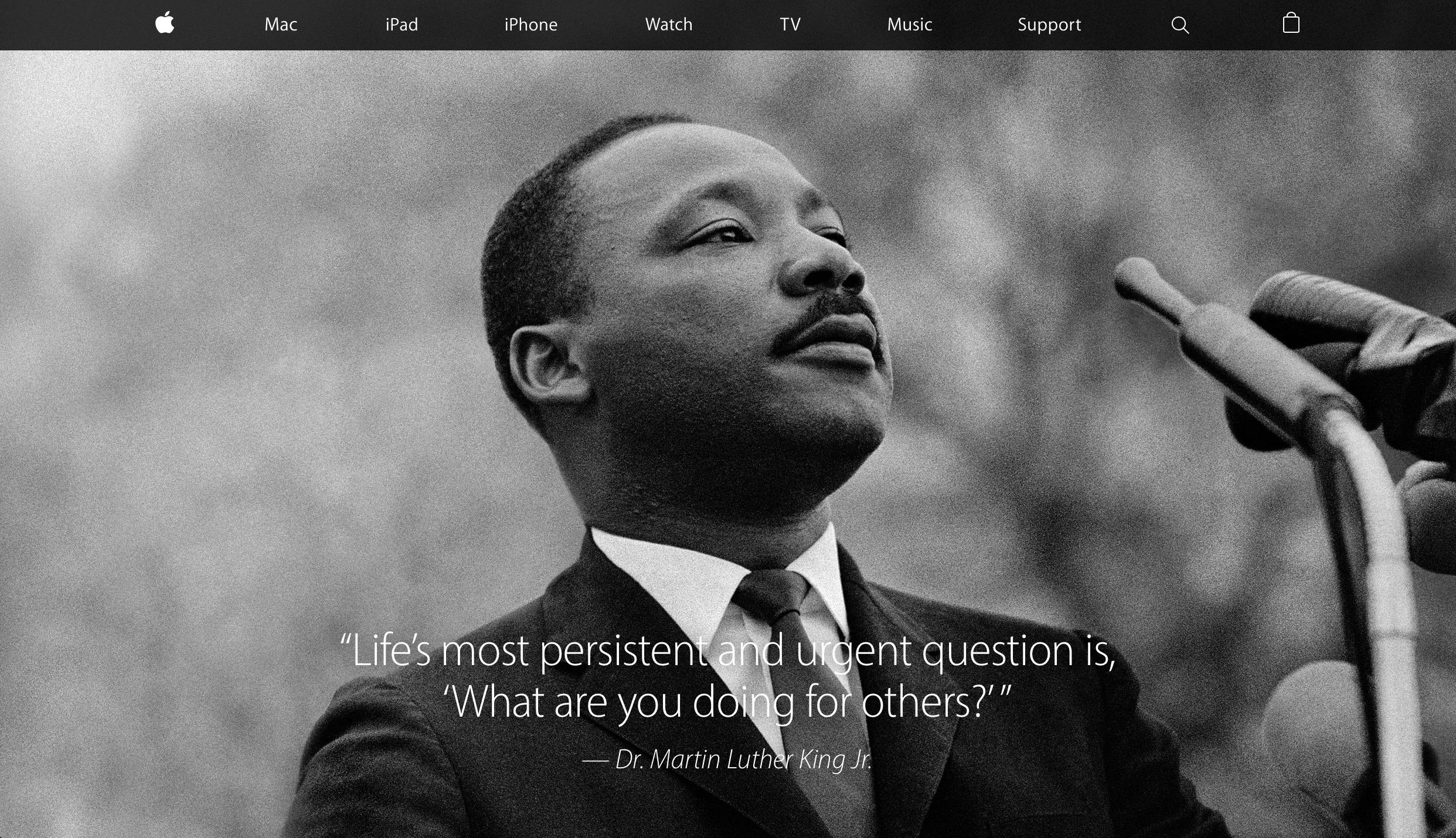 Apple's home page tribute honors Martin Luther King Jr.