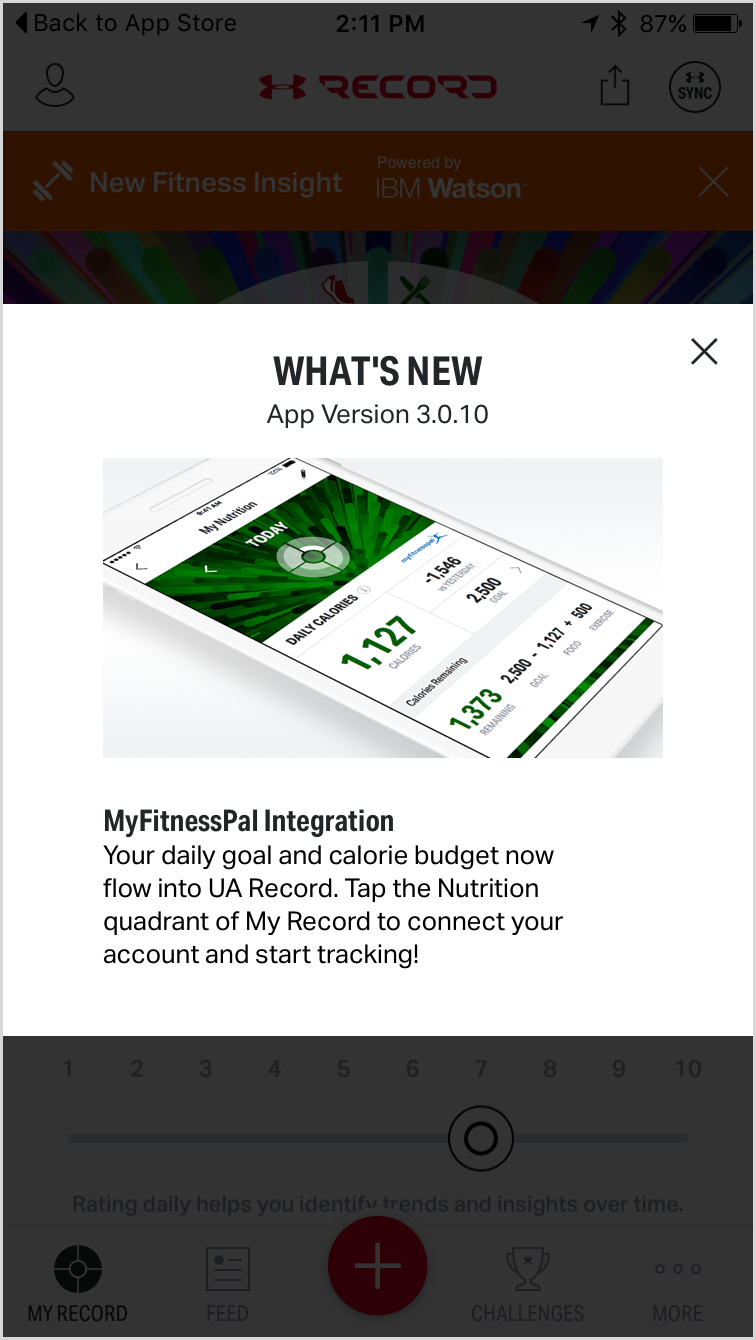 Record by Under Armour sync MyFitnessPal