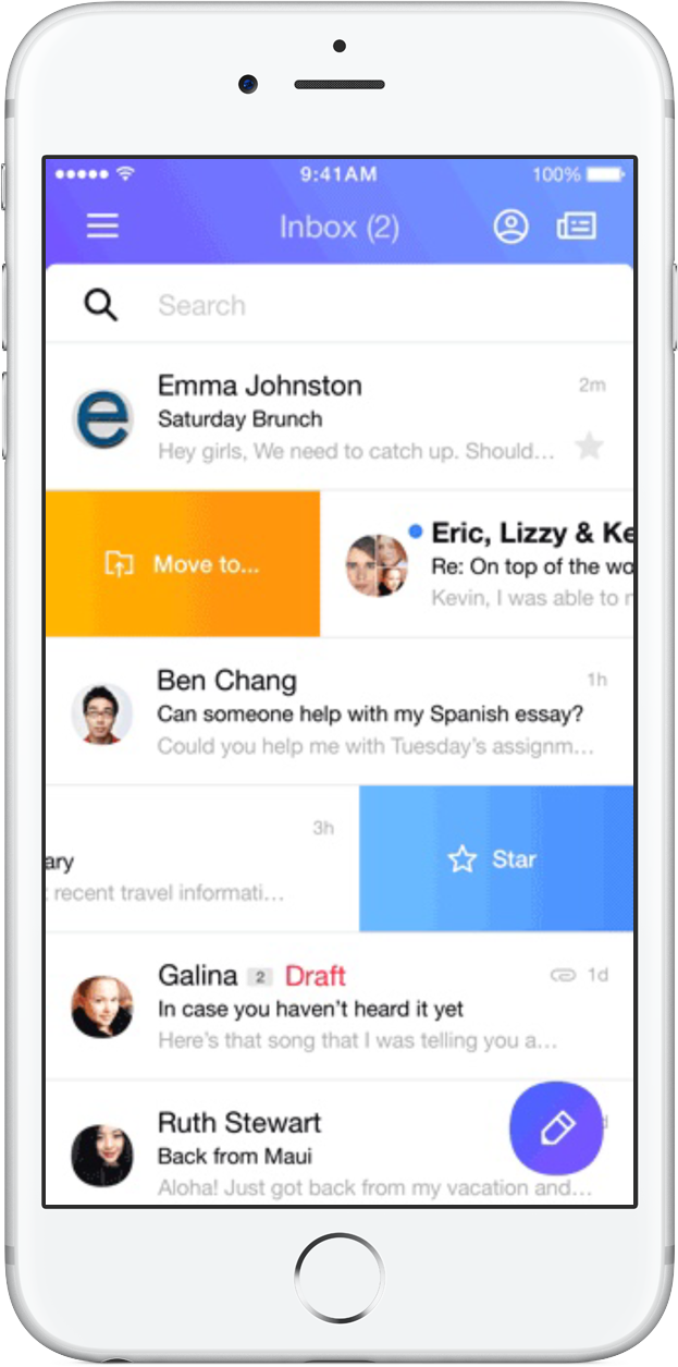 Yahoo Mail customizable swipes