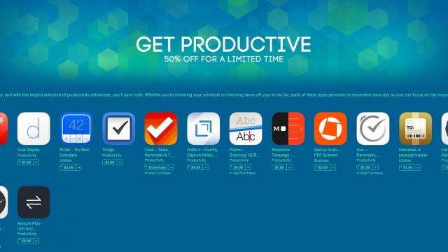 Apple is offering great discounts on a number of popular productivity apps