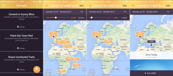 Tripnary lets you search for travel destinations based on your budget