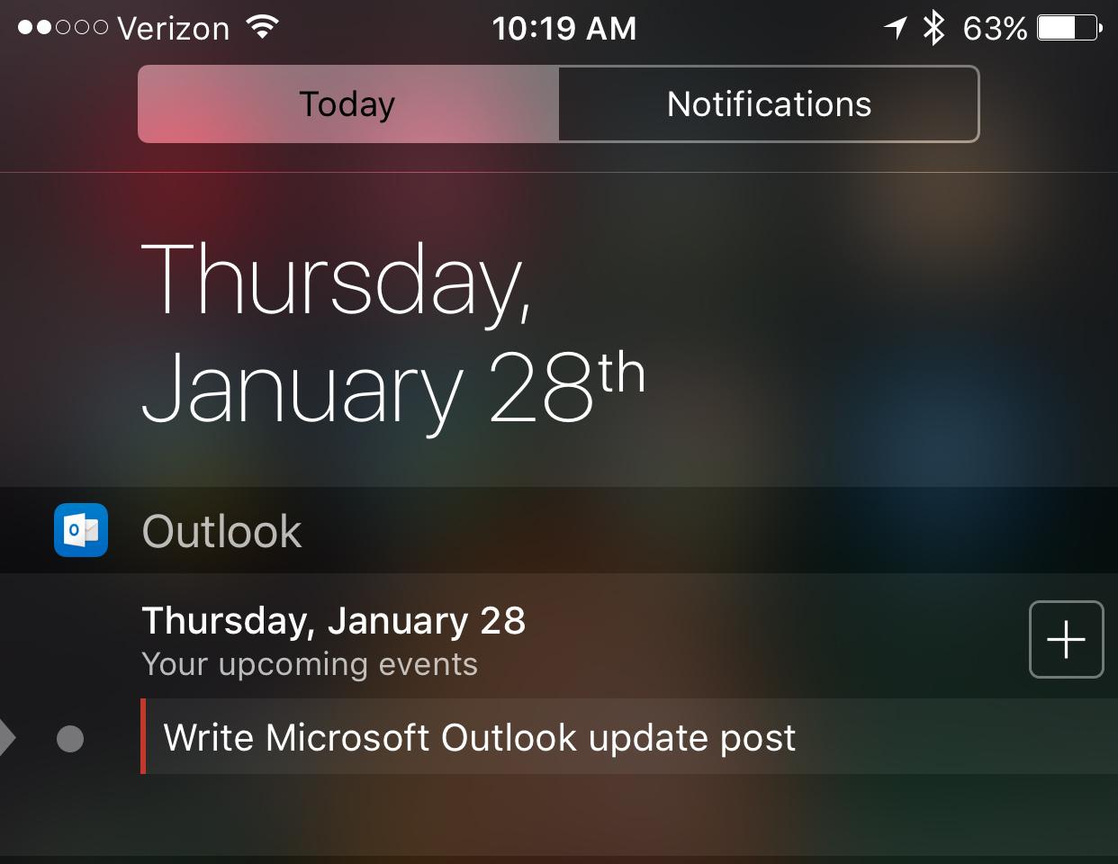 outlook calendar widget iphone