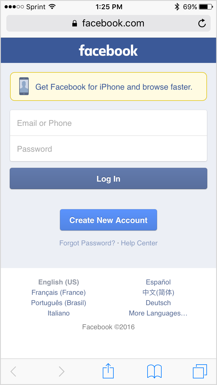Facebook on Safari