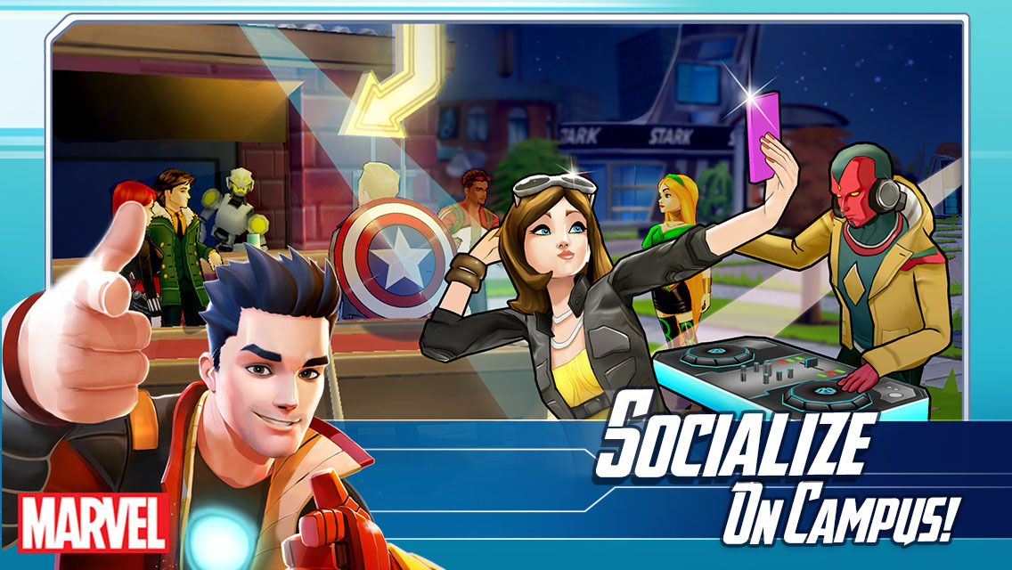 Marvel Avengers Academy socialize on campus