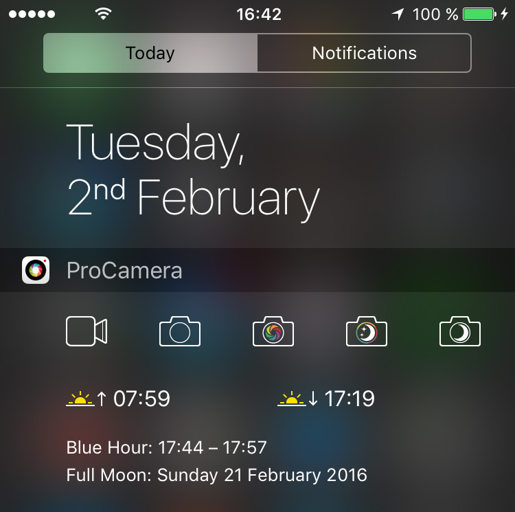 ProCamera enhanced Today widget