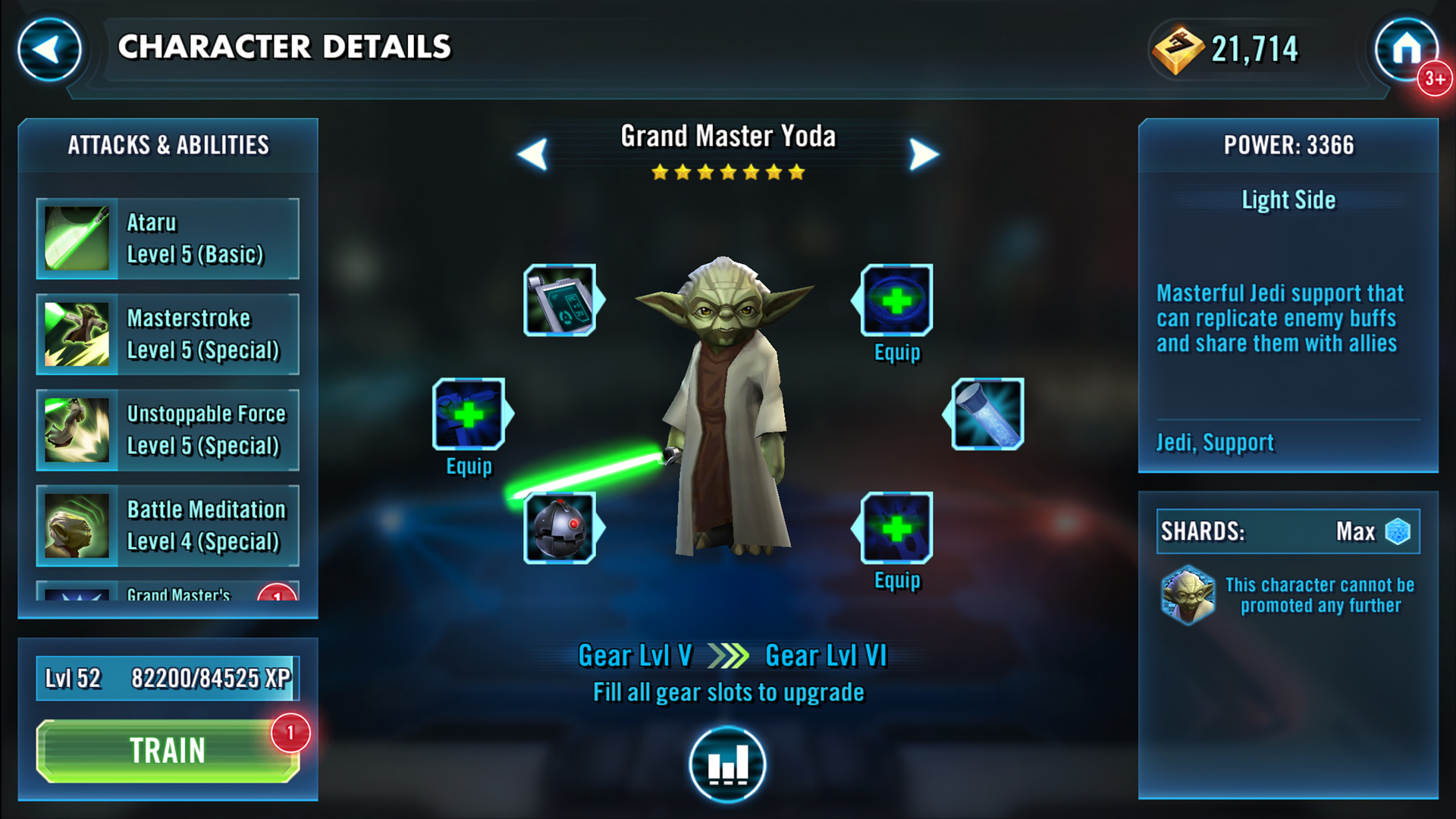 Star Wars Galaxy of Heroes Yoda character details