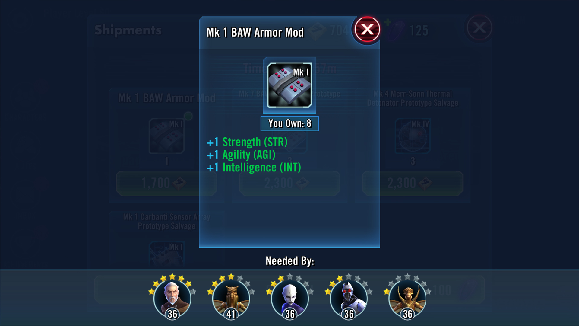 Star Wars Galaxy of Heroes gear found notification